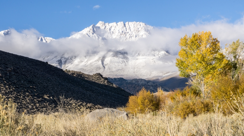 Snowy Sierra Mountains as seen from the Buttermilks, Bishop, CA